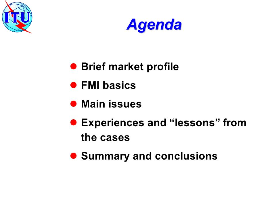 Agenda Brief market profile FMI basics Main issues Experiences and lessons from the cases Summary and conclusions