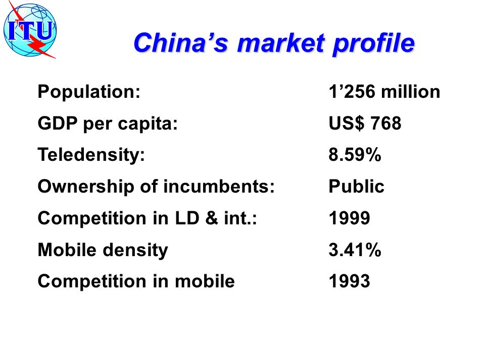 Population:1256 million GDP per capita:US$ 768 Teledensity:8.59% Ownership of incumbents:Public Competition in LD & int.: 1999 Mobile density3.41% Competition in mobile1993 Chinas market profile