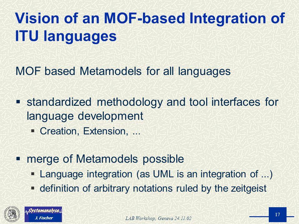 J. Fischer LAB Workshop, Geneva 24.11.02 17 MOF based Metamodels for all languages standardized methodology and tool interfaces for language developme
