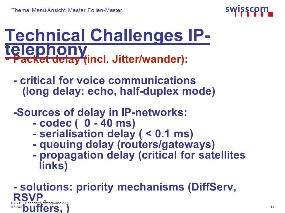 Thema: Menü Ansicht, Master, Folien-Master 14 ITU - IP Telephony Workshop June Technical Challenges IP- telephony Packet delay (incl.