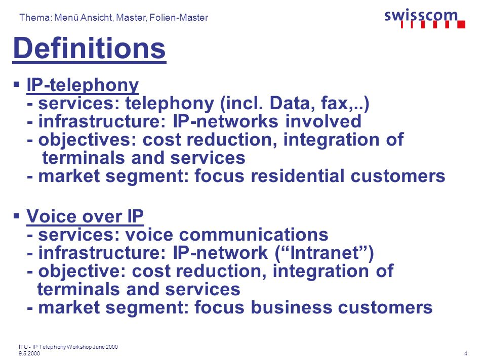 Thema: Menü Ansicht, Master, Folien-Master 15 ITU - IP Telephony Workshop June 2000 9.5.2000 IP-related activities in ITU-T Work performed until 1998 under the GII umbrella (specific Project I.1 on IP questions) IP project (1998, lead SG13 General Network Aspects) 12 work areas identified (I): -Integrated architecture [A1] -Impact to telecommunications access infrastructures of access to IP applications [A2] -Interworking between IP based network and switched-circuit networks, including wireless based networks [A3]