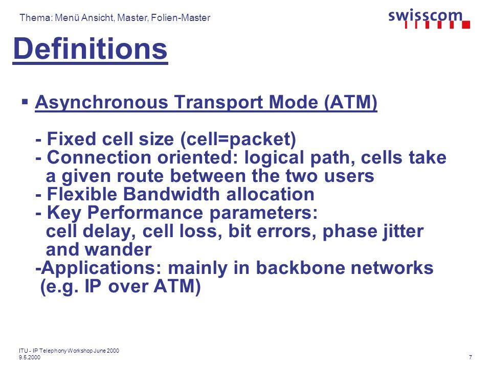 Thema: Menü Ansicht, Master, Folien-Master Copyright ETSI, David Gurle Scenario 1: IP to SCN Switched Circuit Network IP Network Originator: H.323 Terminal Access Interworking Function Target: SCN Terminal Issues: How to find appropriate gatekeepers & gateways.