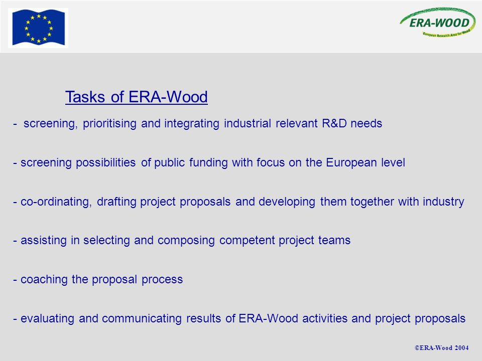 ©ERA-Wood 2004 Tasks of ERA-Wood - screening, prioritising and integrating industrial relevant R&D needs - screening possibilities of public funding w