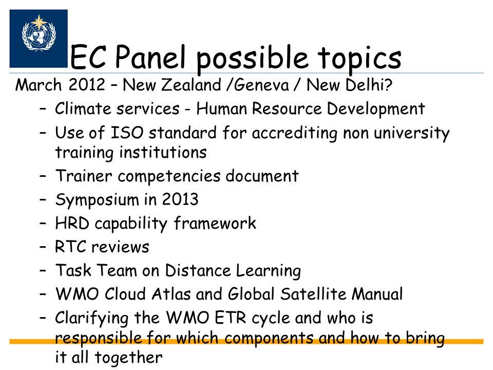 EC Panel possible topics March 2012 – New Zealand /Geneva / New Delhi? –Climate services - Human Resource Development –Use of ISO standard for accredi