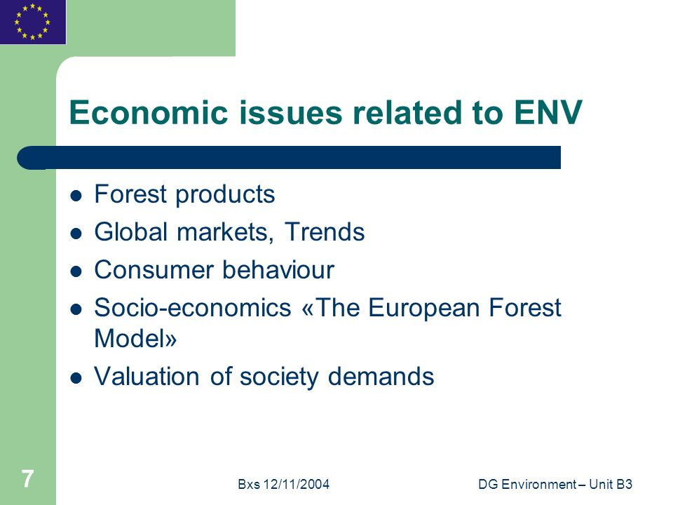 Bxs 12/11/2004DG Environment – Unit B3 7 Economic issues related to ENV Forest products Global markets, Trends Consumer behaviour Socio-economics «The