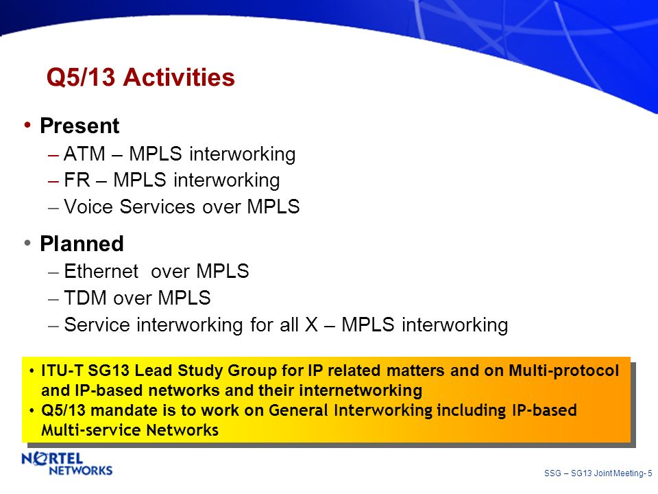 SSG – SG13 Joint Meeting- 5 Q5/13 Activities Present –ATM – MPLS interworking –FR – MPLS interworking –Voice Services over MPLS Planned –Ethernet over