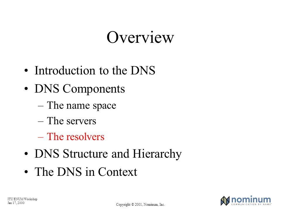 ITU ENUM Workshop Jan 17, 2000 Copyright © 2001, Nominum, Inc. Overview Introduction to the DNS DNS Components –The name space –The servers –The resol
