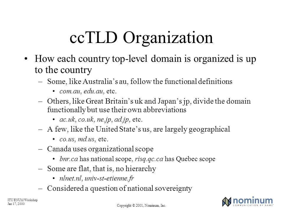 ITU ENUM Workshop Jan 17, 2000 Copyright © 2001, Nominum, Inc. ccTLD Organization How each country top-level domain is organized is up to the country