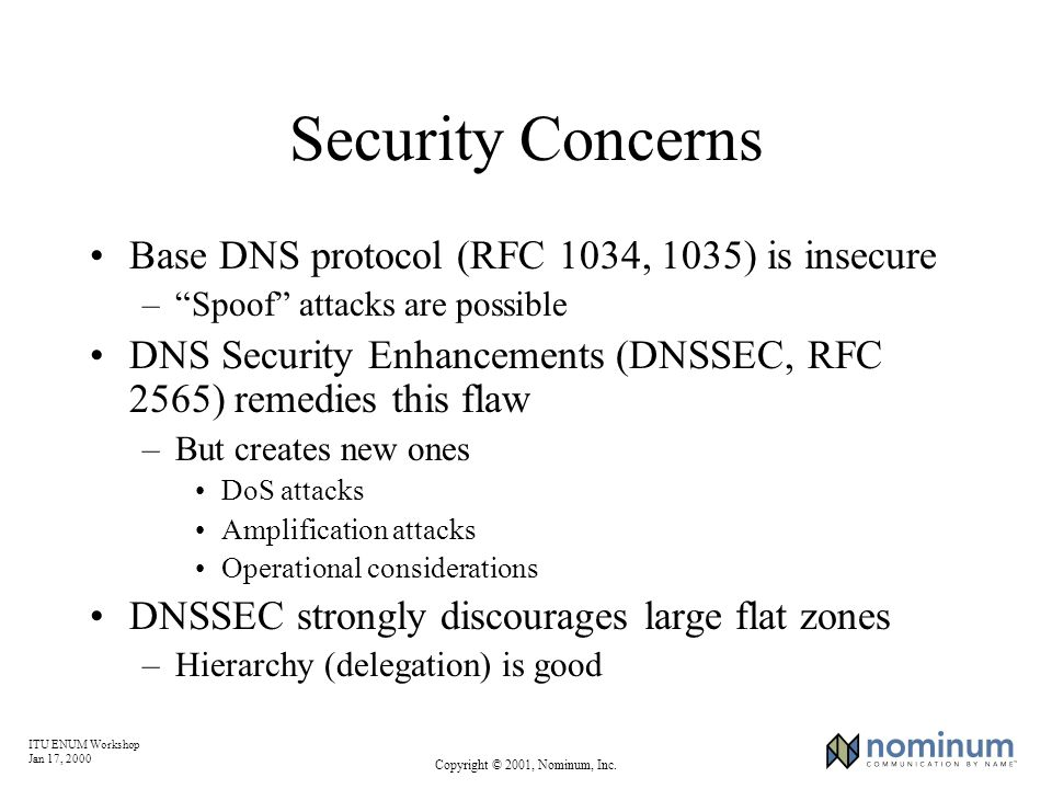 ITU ENUM Workshop Jan 17, 2000 Copyright © 2001, Nominum, Inc. Security Concerns Base DNS protocol (RFC 1034, 1035) is insecure –Spoof attacks are pos
