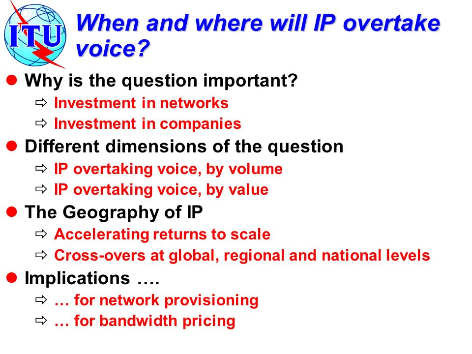 When and where will IP overtake voice. Why is the question important.