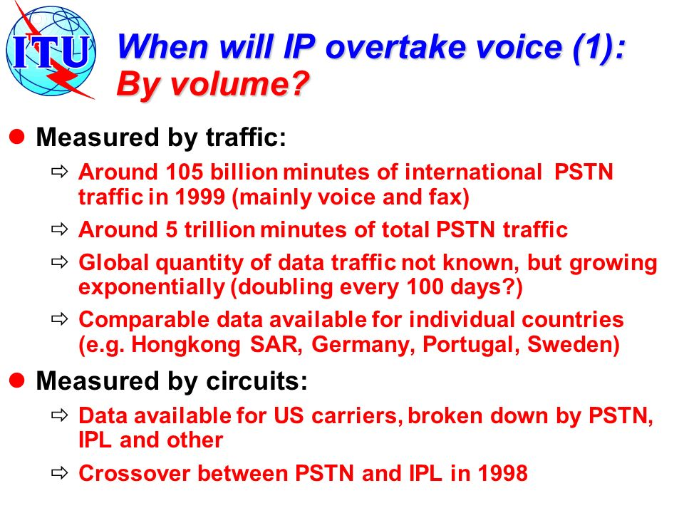 When will IP overtake voice (1): By volume.