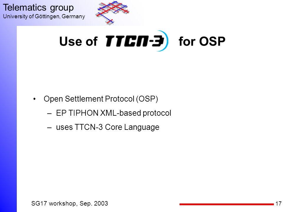 17 Telematics group University of Göttingen, Germany SG17 workshop, Sep.