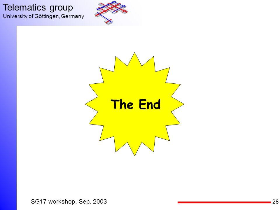 28 Telematics group University of Göttingen, Germany SG17 workshop, Sep. 2003 The End
