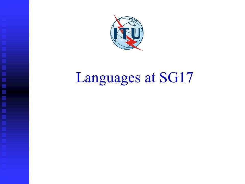 Languages at SG17