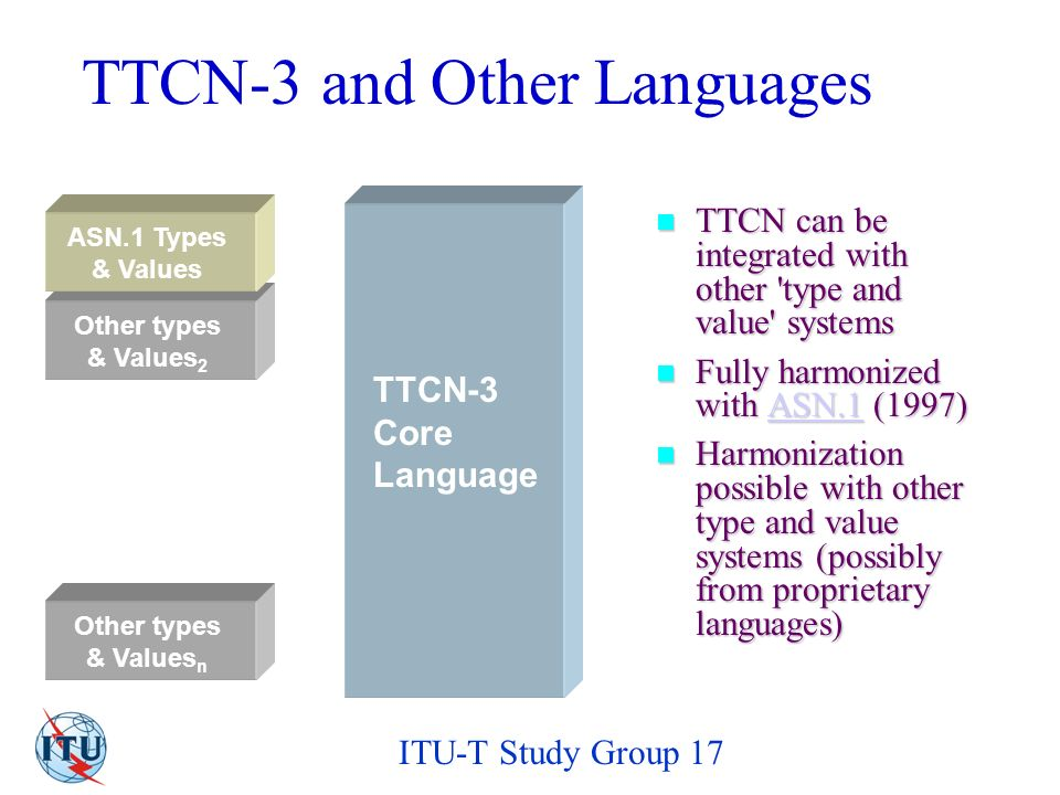 ITU-T Study Group 17 TTCN-3 and Other Languages TTCN can be integrated with other type and value systems TTCN can be integrated with other type and value systems Fully harmonized with ASN.1 (1997) Fully harmonized with ASN.1 (1997)ASN.1 Harmonization possible with other type and value systems (possibly from proprietary languages) Harmonization possible with other type and value systems (possibly from proprietary languages) TTCN-3 Core Language Other types & Values 2 Other types & Values n ASN.1 Types & Values