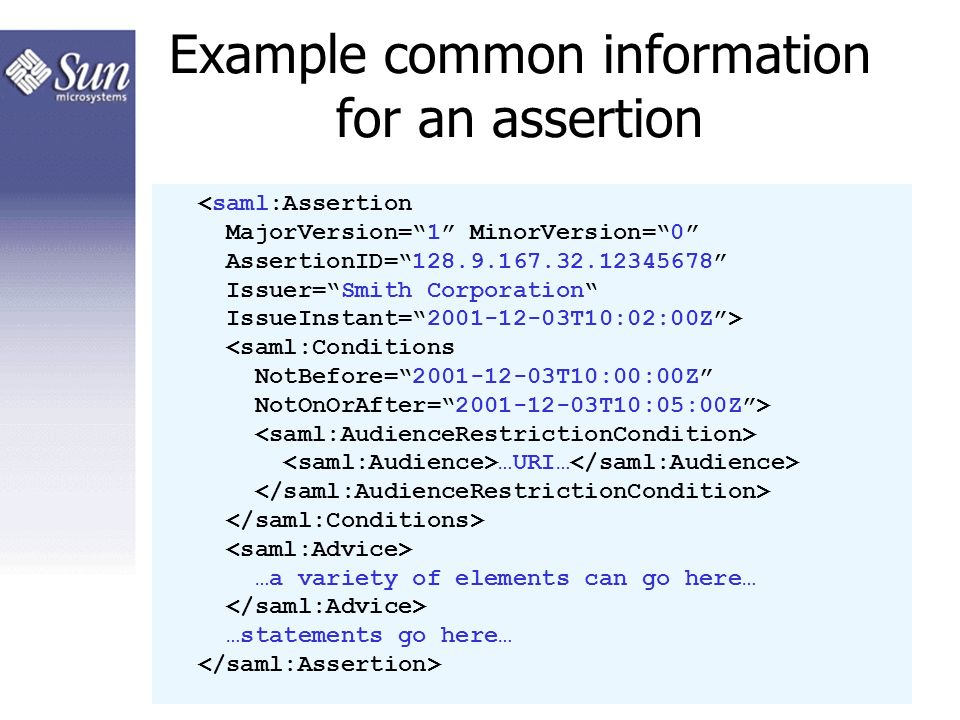 16 Example common information for an assertion …URI… …a variety of elements can go here… …statements go here…