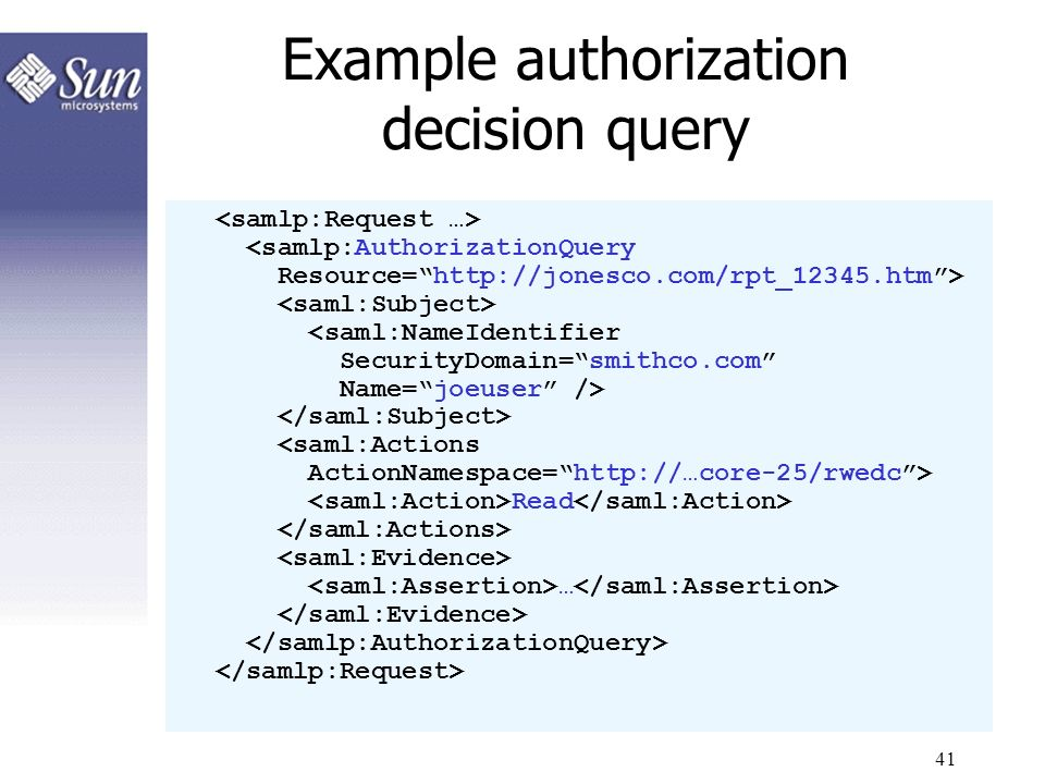 41 Example authorization decision query Read …