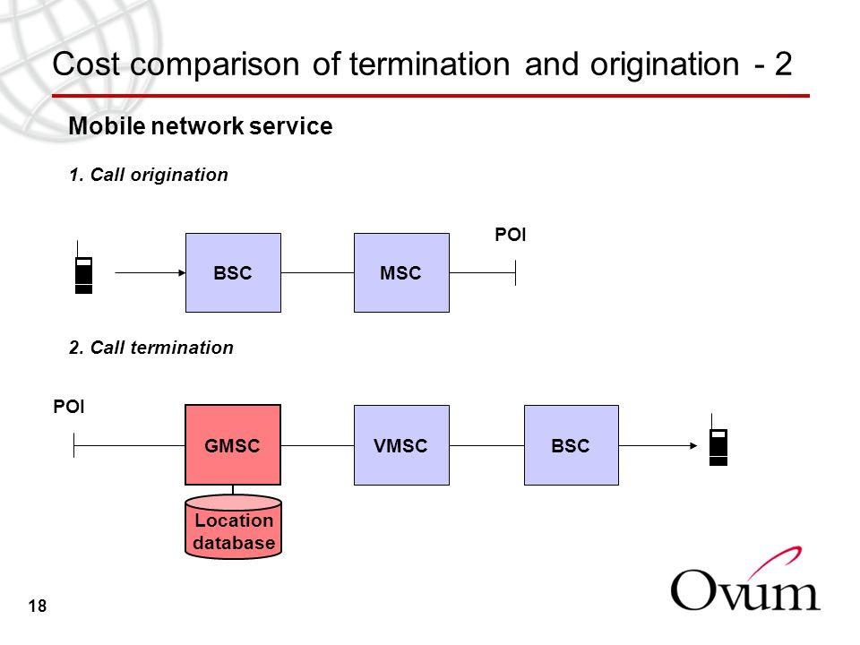18 Cost comparison of termination and origination - 2 Mobile network service 1. Call origination BSCMSC POI 2. Call termination GMSC VMSC POI BSC Loca