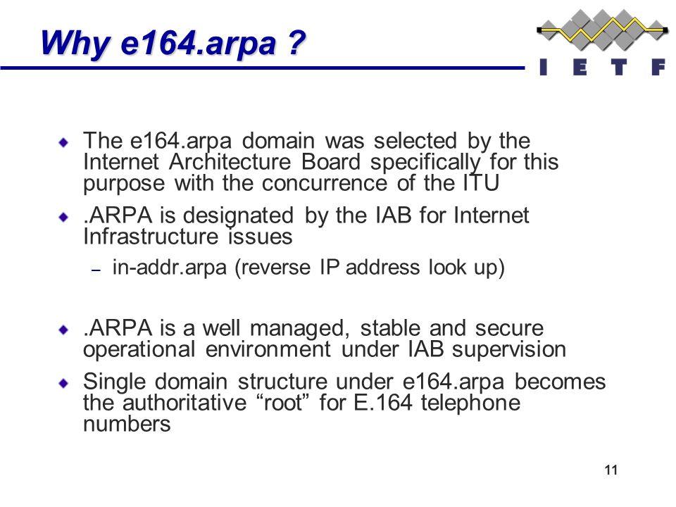 11 Why e164.arpa . Why e164.arpa .
