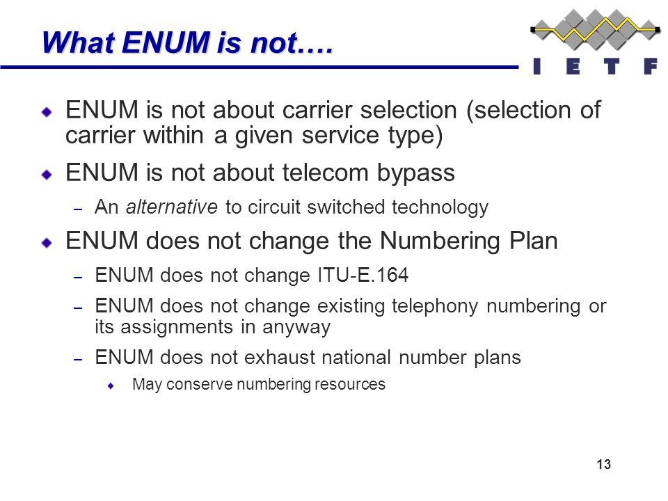 13 What ENUM is not….