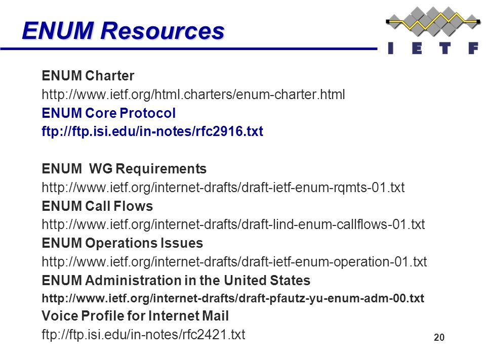 20 ENUM Resources ENUM Charter http://www.ietf.org/html.charters/enum-charter.html ENUM Core Protocol ftp://ftp.isi.edu/in-notes/rfc2916.txt ENUM WG Requirements http://www.ietf.org/internet-drafts/draft-ietf-enum-rqmts-01.txt ENUM Call Flows http://www.ietf.org/internet-drafts/draft-lind-enum-callflows-01.txt ENUM Operations Issues http://www.ietf.org/internet-drafts/draft-ietf-enum-operation-01.txt ENUM Administration in the United States http://www.ietf.org/internet-drafts/draft-pfautz-yu-enum-adm-00.txt Voice Profile for Internet Mail ftp://ftp.isi.edu/in-notes/rfc2421.txt