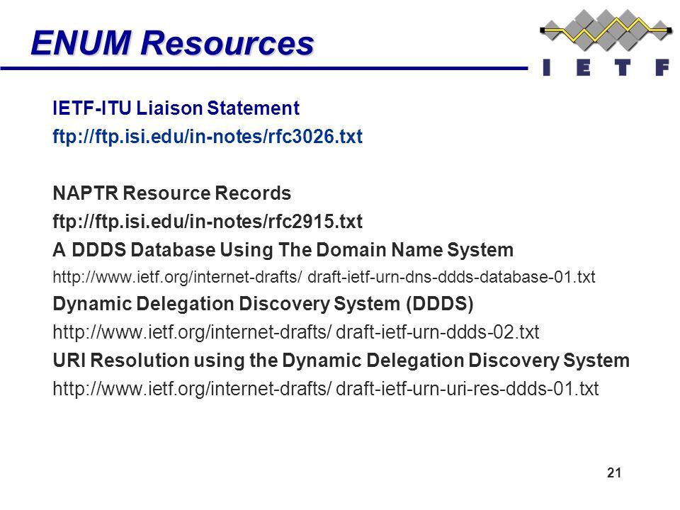 21 ENUM Resources IETF-ITU Liaison Statement ftp://ftp.isi.edu/in-notes/rfc3026.txt NAPTR Resource Records ftp://ftp.isi.edu/in-notes/rfc2915.txt A DD
