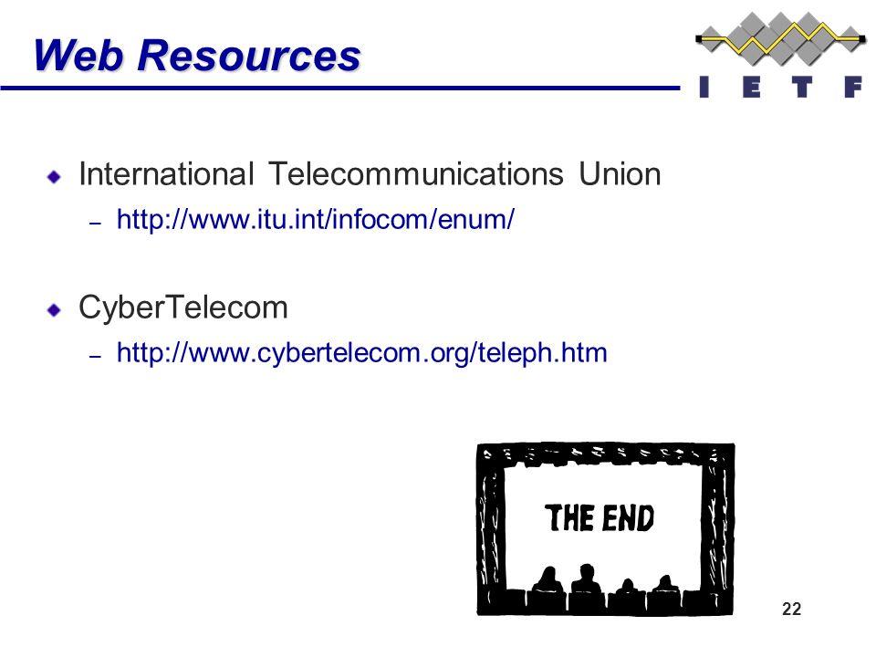 22 Web Resources International Telecommunications Union – http://www.itu.int/infocom/enum/ CyberTelecom – http://www.cybertelecom.org/teleph.htm