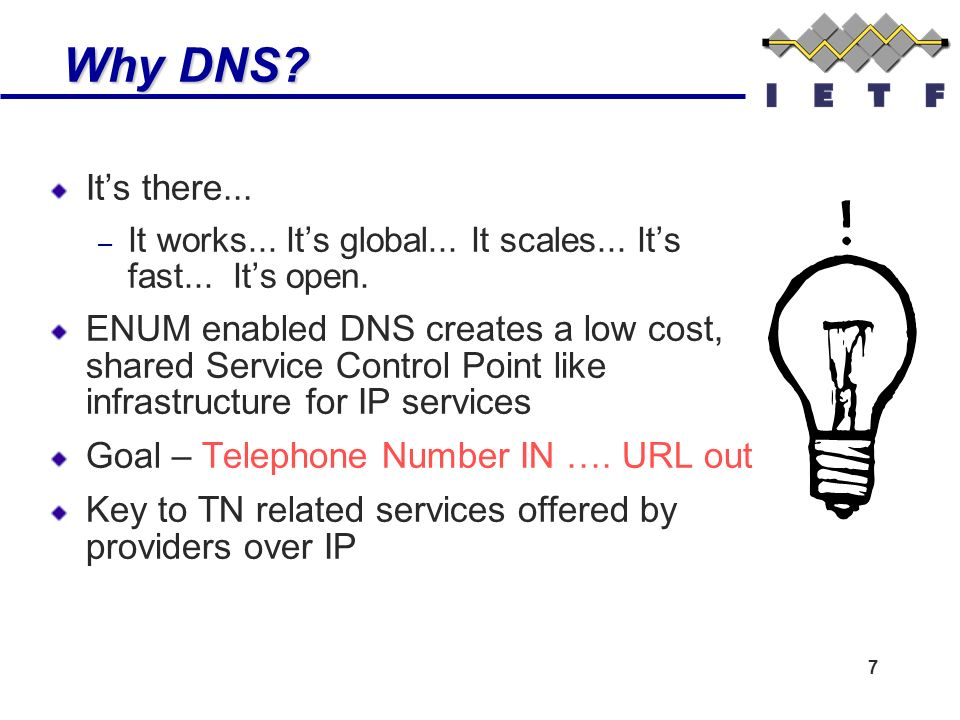 7 Why DNS. Why DNS. Its there... – It works... Its global...