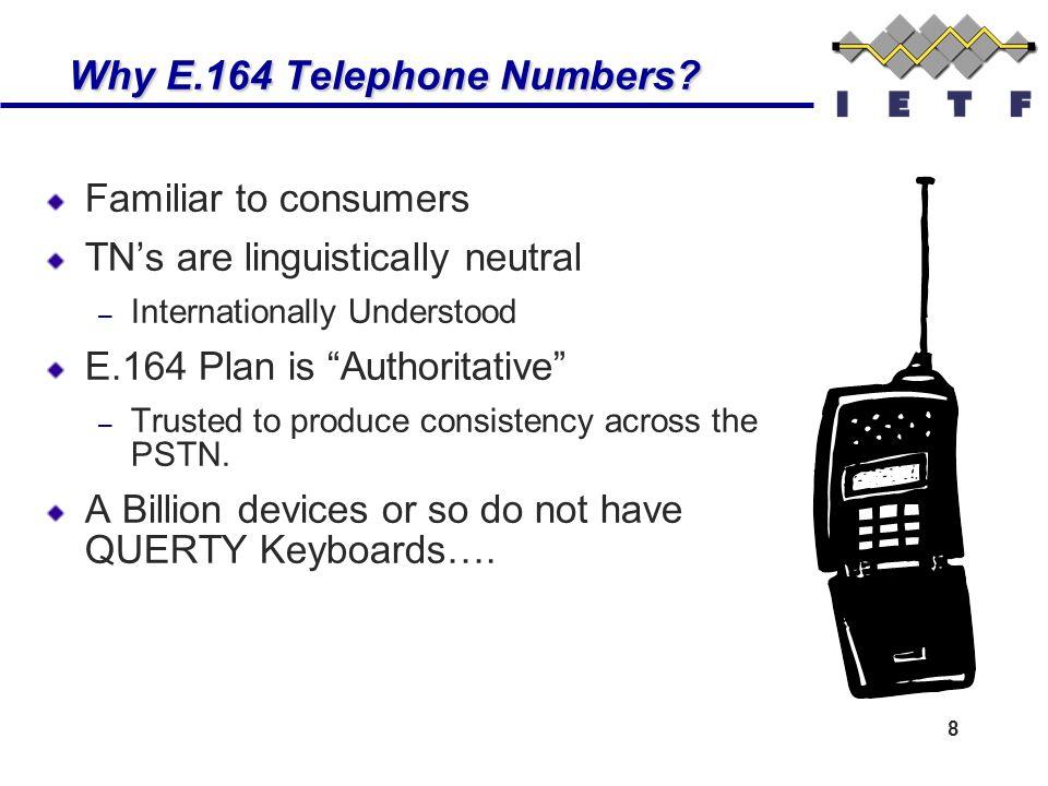 8 Why E.164 Telephone Numbers. Why E.164 Telephone Numbers.