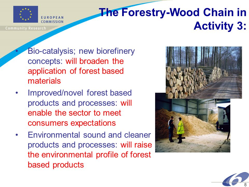 8 Bio-catalysis; new biorefinery concepts: will broaden the application of forest based materials Improved/novel forest based products and processes: