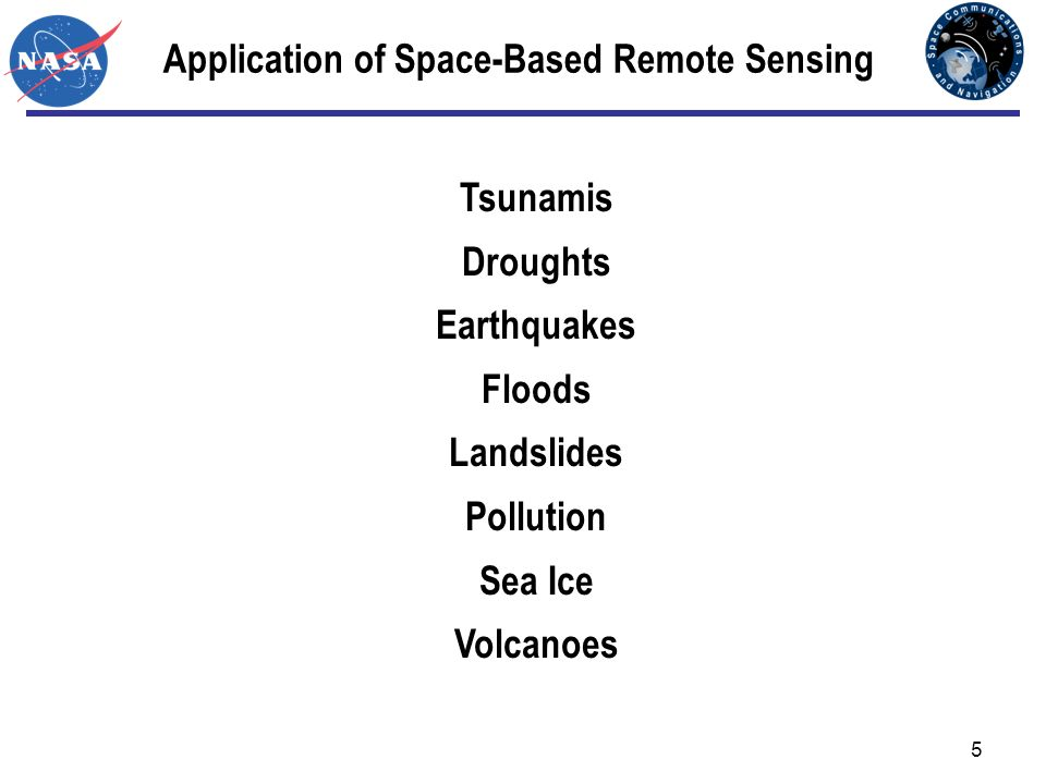 5 Application of Space-Based Remote Sensing Tsunamis Droughts Earthquakes Floods Landslides Pollution Sea Ice Volcanoes