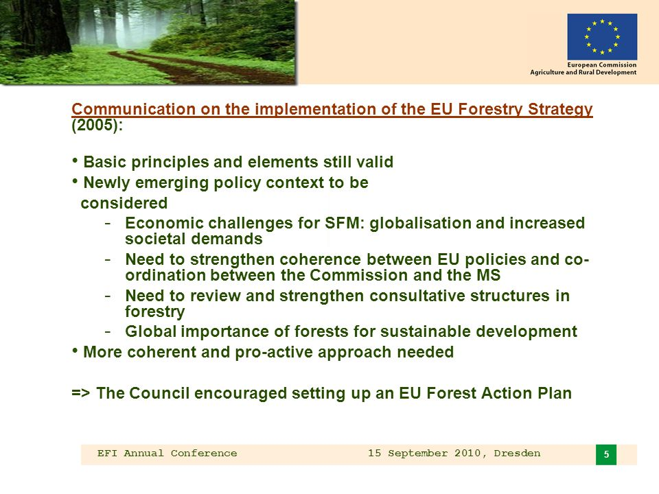EFI Annual Conference 15 September 2010, Dresden 5 Communication on the implementation of the EU Forestry Strategy (2005): Basic principles and elements still valid Newly emerging policy context to be considered - Economic challenges for SFM: globalisation and increased societal demands - Need to strengthen coherence between EU policies and co- ordination between the Commission and the MS - Need to review and strengthen consultative structures in forestry - Global importance of forests for sustainable development More coherent and pro-active approach needed => The Council encouraged setting up an EU Forest Action Plan