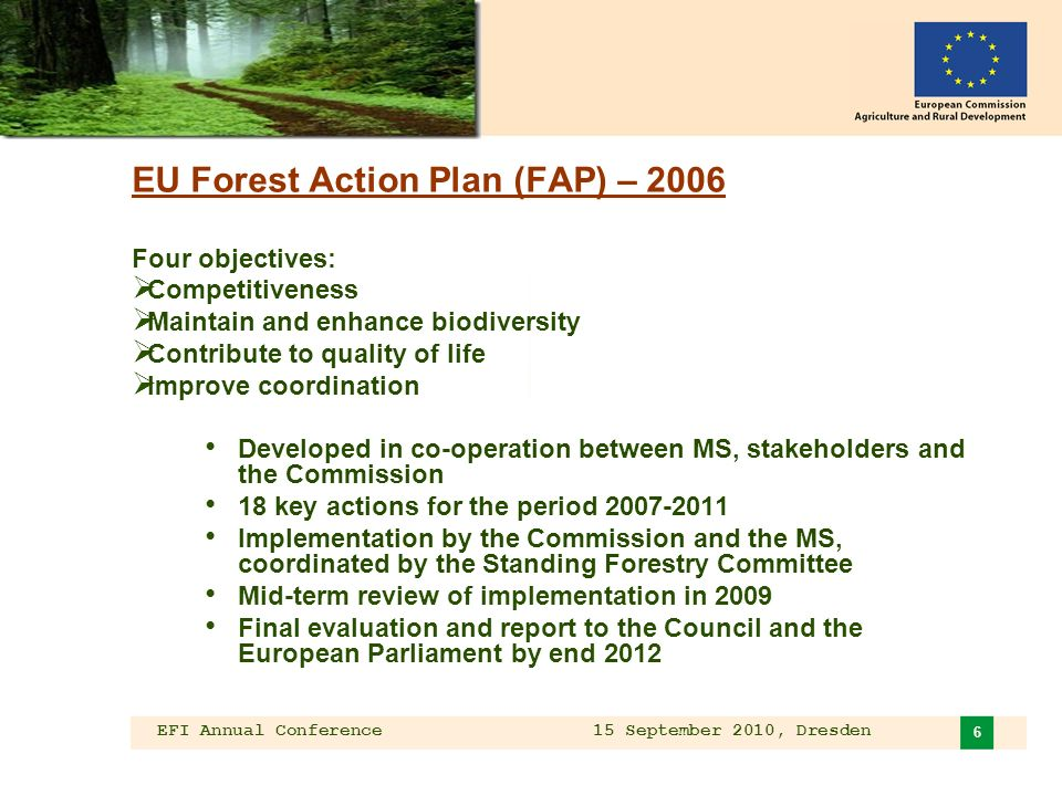 EFI Annual Conference 15 September 2010, Dresden 6 EU Forest Action Plan (FAP) – 2006 Four objectives: Competitiveness Maintain and enhance biodiversity Contribute to quality of life Improve coordination Developed in co-operation between MS, stakeholders and the Commission 18 key actions for the period 2007-2011 Implementation by the Commission and the MS, coordinated by the Standing Forestry Committee Mid-term review of implementation in 2009 Final evaluation and report to the Council and the European Parliament by end 2012