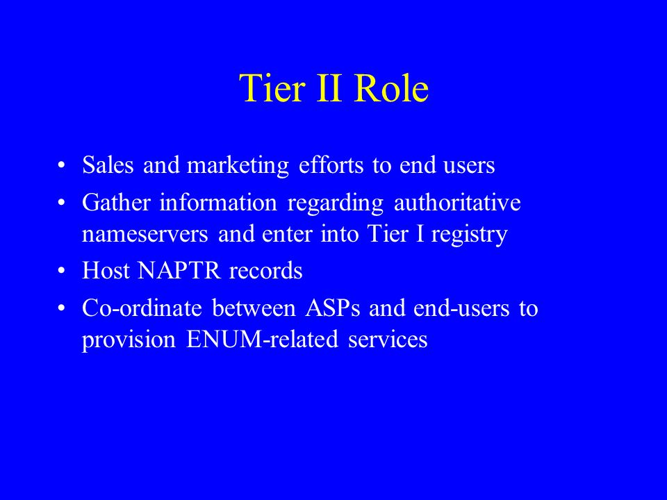 Tier II Role Sales and marketing efforts to end users Gather information regarding authoritative nameservers and enter into Tier I registry Host NAPTR records Co-ordinate between ASPs and end-users to provision ENUM-related services