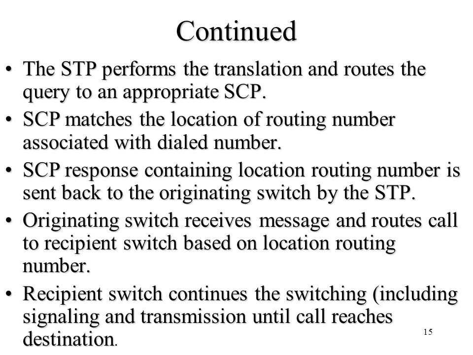 15Continued The STP performs the translation and routes the query to an appropriate SCP.The STP performs the translation and routes the query to an ap