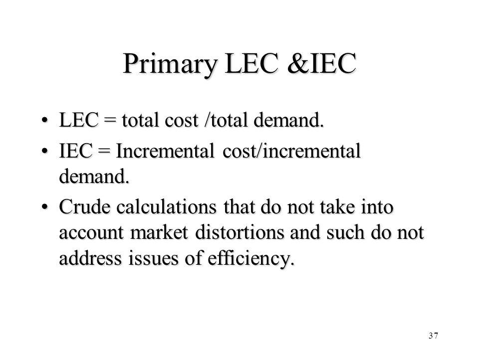 37 Primary LEC &IEC LEC = total cost /total demand.LEC = total cost /total demand. IEC = Incremental cost/incremental demand.IEC = Incremental cost/in