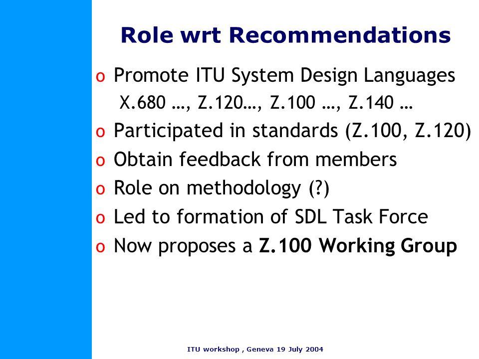 ITU workshop, Geneva 19 July 2004 Role wrt Recommendations o Promote ITU System Design Languages X.680 …, Z.120…, Z.100 …, Z.140 … o Participated in s