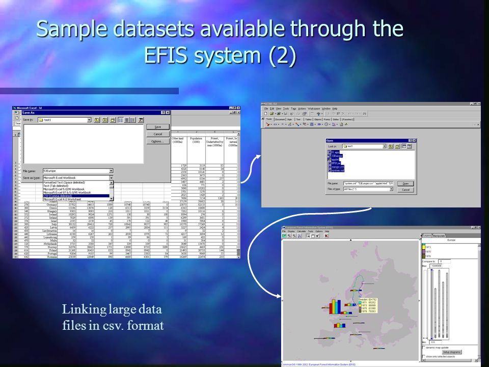Sample datasets available through the EFIS system (2) Linking large data files in csv. format