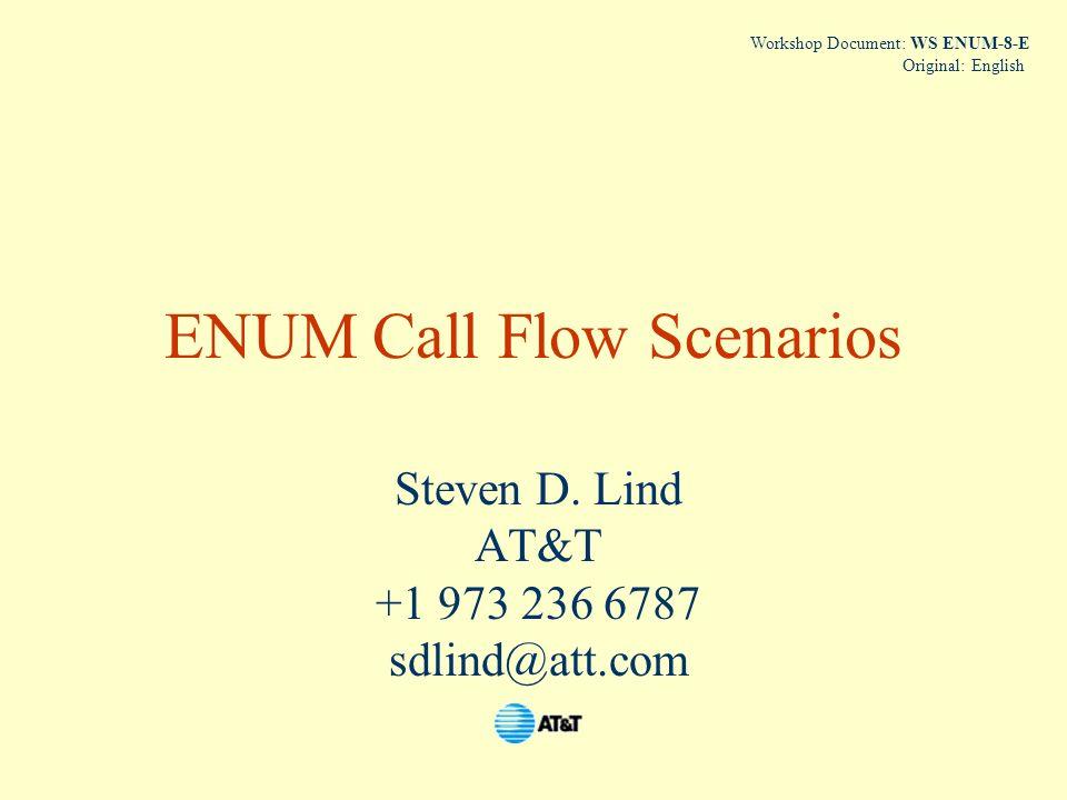 ENUM Call Flow Scenarios Steven D. Lind AT&T +1 973 236 6787 sdlind@att.com Workshop Document: WS ENUM-8-E Original: English