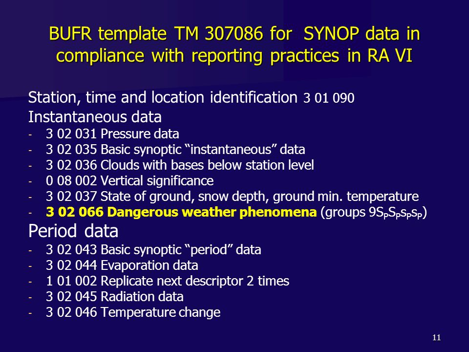 11 BUFR template TM 307086 for SYNOP data in compliance with reporting practices in RA VI Station, time and location identification 3 01 090 Instantan