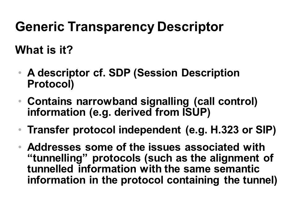 Generic Transparency Descriptor A descriptor cf.