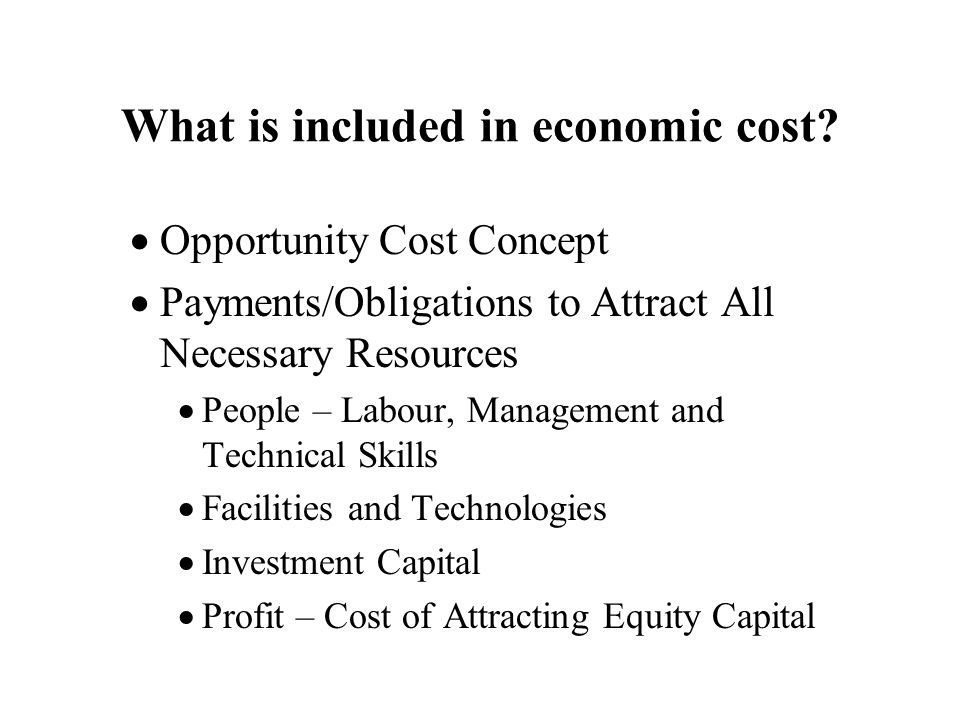 What is included in economic cost.