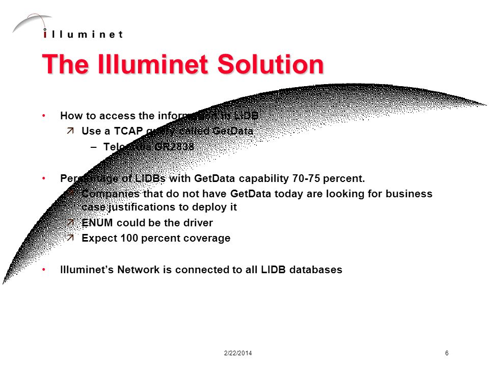 2/22/2014 6 The Illuminet Solution How to access the information in LIDB äUse a TCAP query called GetData –Telcordia GR2838 Percentage of LIDBs with GetData capability 70-75 percent.