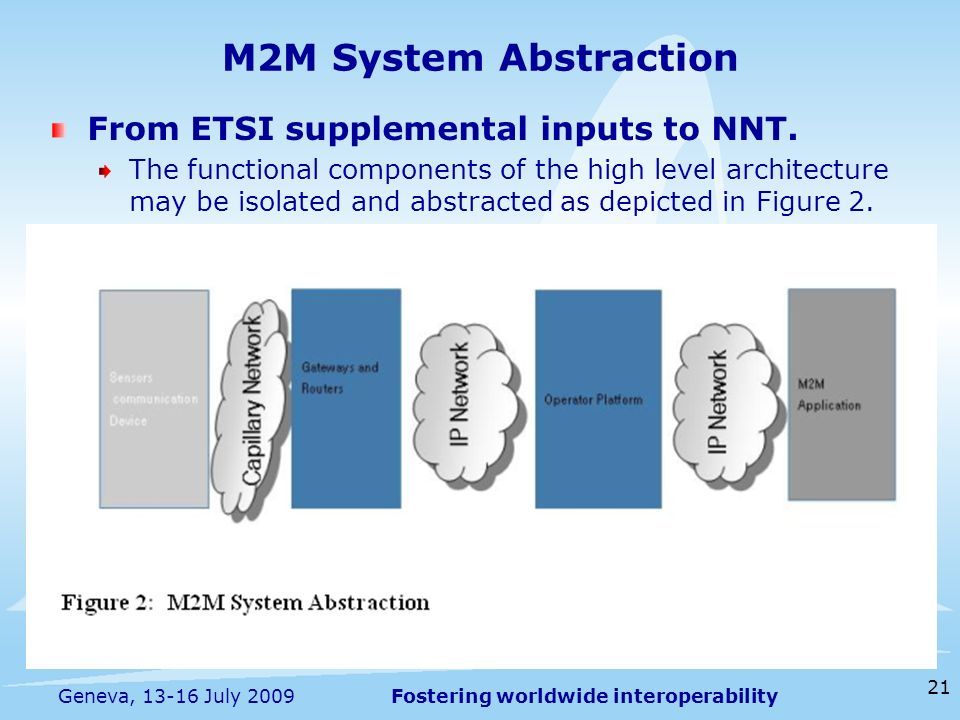 Fostering worldwide interoperability 21 Geneva, 13-16 July 2009 M2M System Abstraction From ETSI supplemental inputs to NNT.