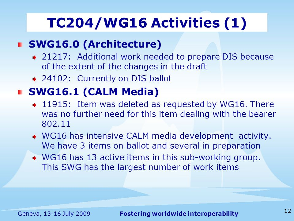 Fostering worldwide interoperability 12 Geneva, July 2009 SWG16.0 (Architecture) 21217: Additional work needed to prepare DIS because of the extent of the changes in the draft 24102: Currently on DIS ballot SWG16.1 (CALM Media) 11915: Item was deleted as requested by WG16.