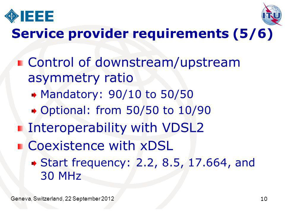 Geneva, Switzerland, 22 September 2012 10 Service provider requirements (5/6) Control of downstream/upstream asymmetry ratio Mandatory: 90/10 to 50/50