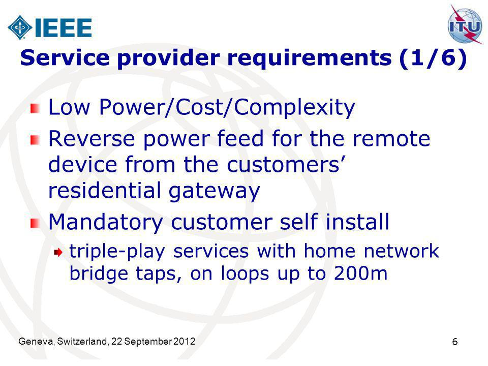 Geneva, Switzerland, 22 September 2012 6 Service provider requirements (1/6) Low Power/Cost/Complexity Reverse power feed for the remote device from t