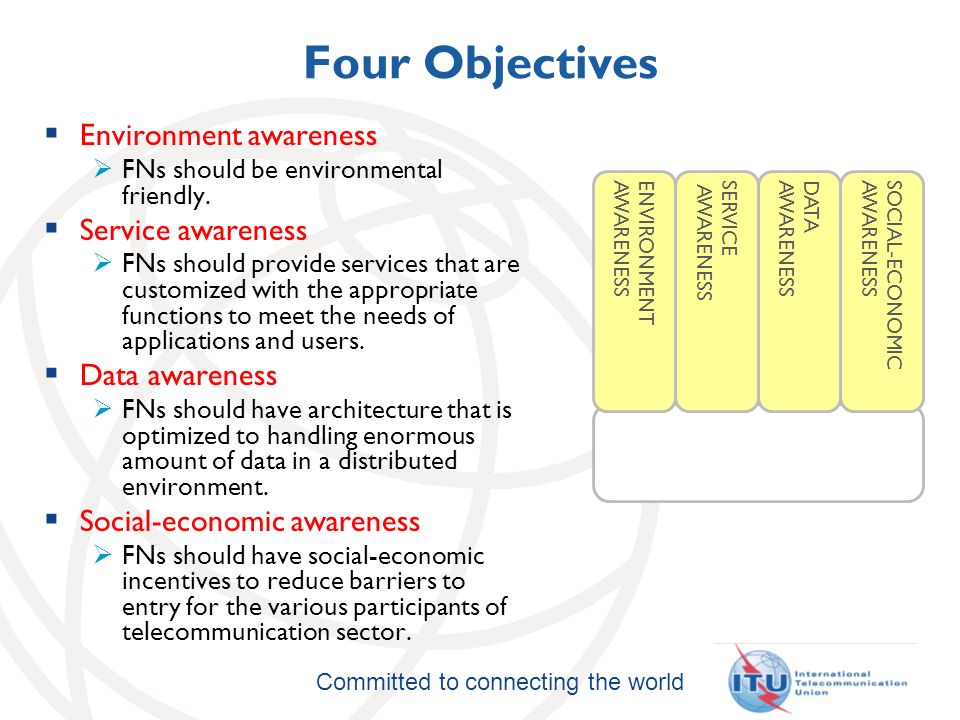 Committed to connecting the world Four Objectives Environment awareness FNs should be environmental friendly.