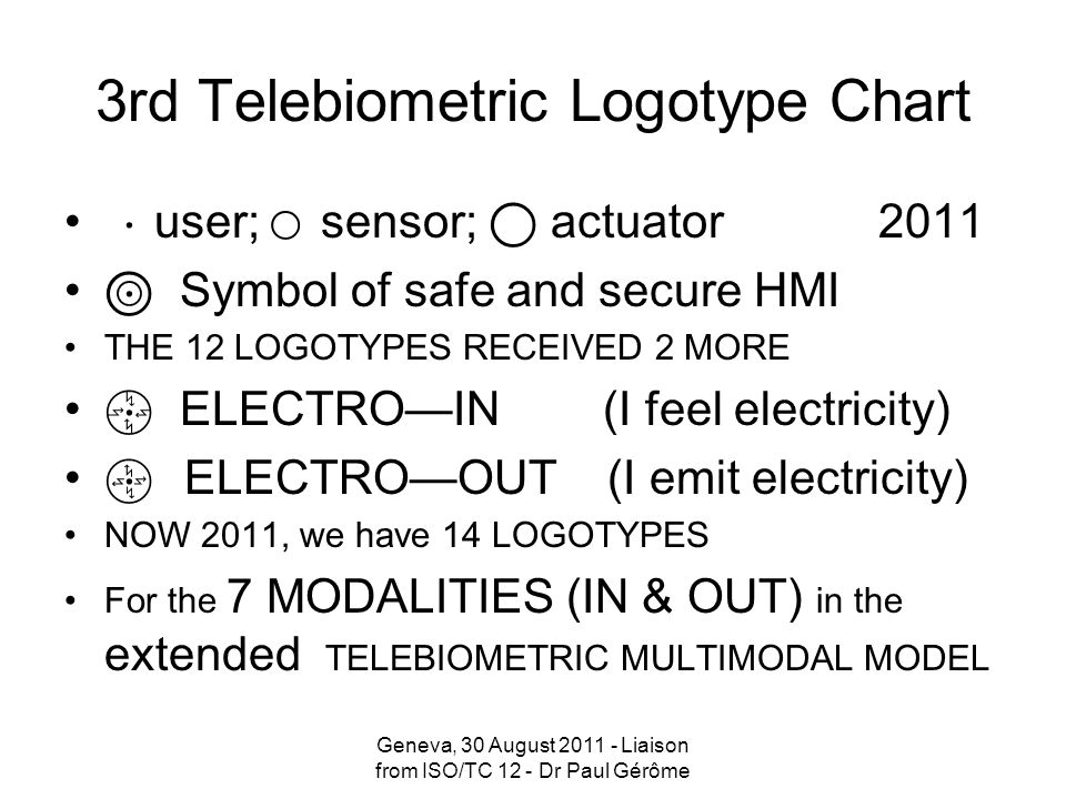 I thank TSB Director; SG 17 Chairman and Vice Chairmen for their kind words And I invite you to read along with me what *ISO/TC 12 responsible for International System of Quantities [ISQ], as well as what **IEC/TC 25 responsible for the safety features of Telebiometrics and ***BIPM/CCU responsible for the International System of Units [SI] contributed to the ITU-T Rec.