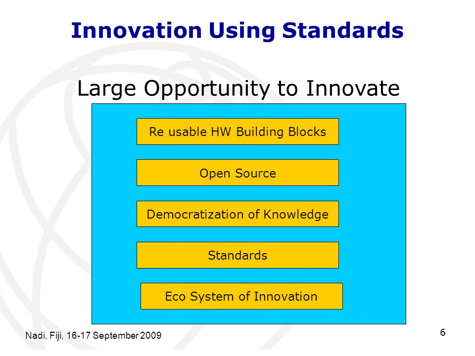 Nadi, Fiji, 16-17 September 2009 6 Innovation Using Standards Re usable HW Building Blocks Open Source Democratization of Knowledge Standards Eco System of Innovation Large Opportunity to Innovate